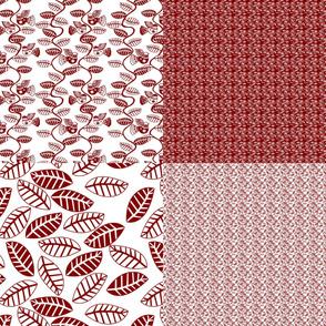 set oiseau et feuille rouge