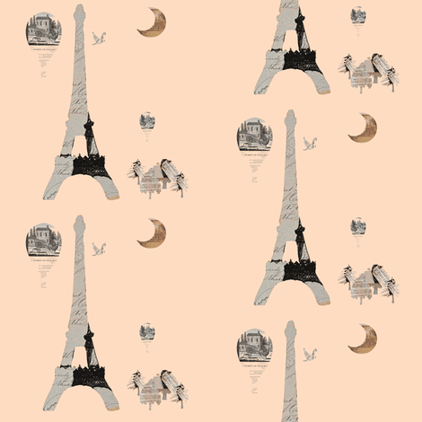 "Eiffel Tower Creamsicle, 12 x 12"" design fabric by karenharveycox on Spoonflower - custom fabric"