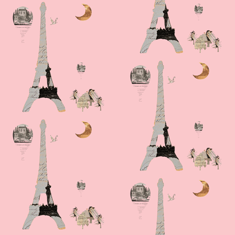 Eiffel Tower Pink fabric by karenharveycox on Spoonflower - custom fabric