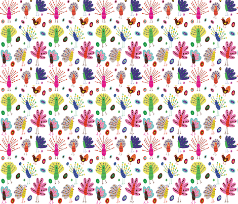 Whimsical Peacocks fabric by lesley_grainger on Spoonflower - custom fabric