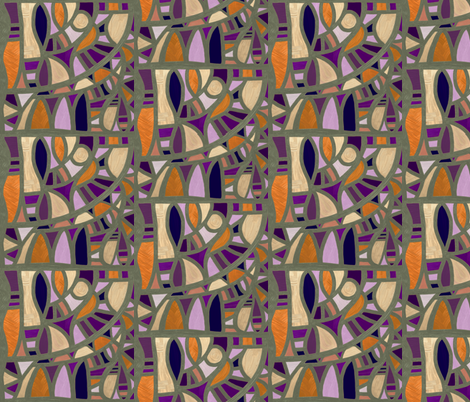 Gaudy Gaudi purples and oranges vertical 2 fabric by su_g on Spoonflower - custom fabric