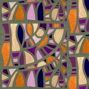 Gaudy Gaudi purples and oranges vertical 2