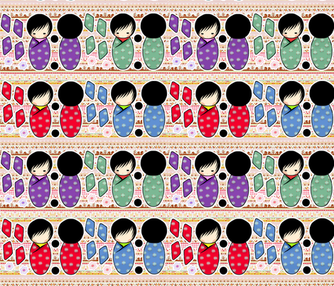 Kokeshi Dolls fabric by lovelylatte on Spoonflower - custom fabric
