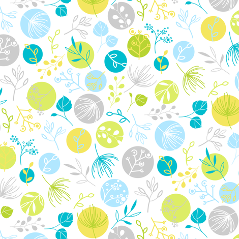 Mini Mod Leaf_blue fabric by wddesign on Spoonflower - custom fabric