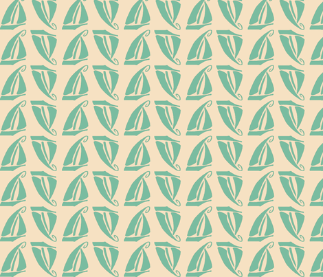 Sailboat in Seafoam fabric by kellyw on Spoonflower - custom fabric