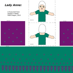 Lady Ann Purse Doll in Teal and Violet