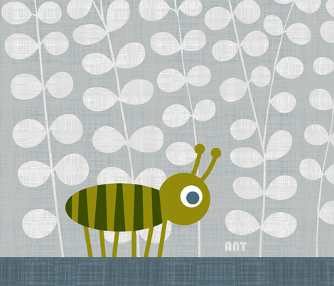 ANT panel/green fabric by spellstone on Spoonflower - custom fabric