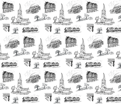 Chesterfield Toile in Black fabric by squeakyangel on Spoonflower - custom fabric