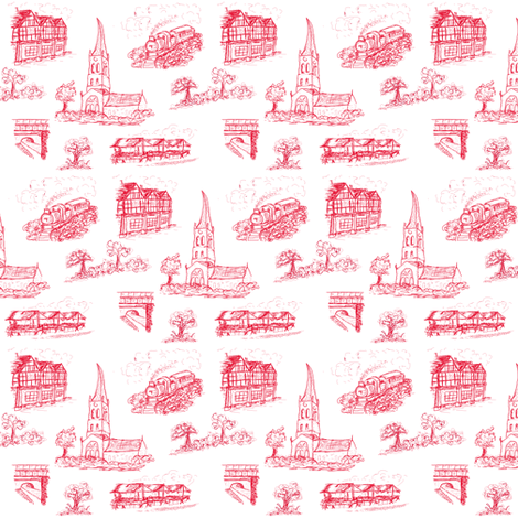 Chesterfield Toile in Red fabric by elizabethjones on Spoonflower - custom fabric