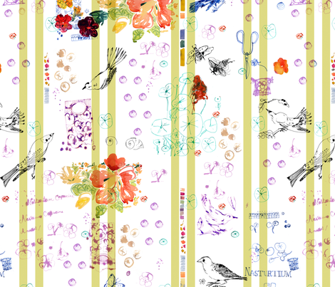 c'est la viv_ MON JARDIN NOTES fabric by cest_la_viv on Spoonflower - custom fabric
