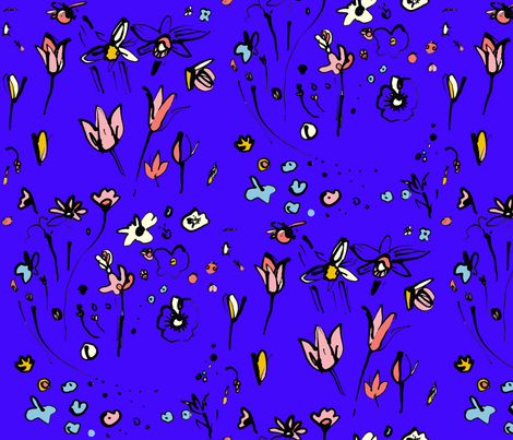 cestlavov_ladybug_modagarden_ultrablue fabric by cest_la_viv on Spoonflower - custom fabric