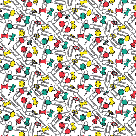 Pushpins and Paperclips fabric by jmckinniss on Spoonflower - custom fabric