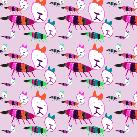 Bea Kitty Kitty pinks fabric by handmadepretties on Spoonflower - custom fabric