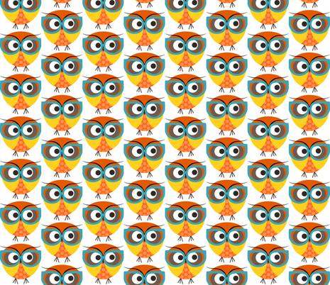 Geeky Owl Color fabric by natitys on Spoonflower - custom fabric