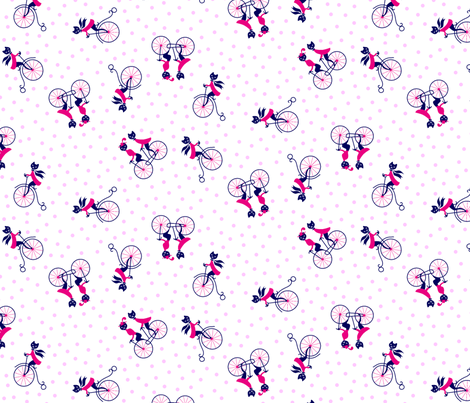 Kitties on Bicycles Dotty - baby pink
