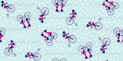 Kitties on Bicycles Dotty Sky