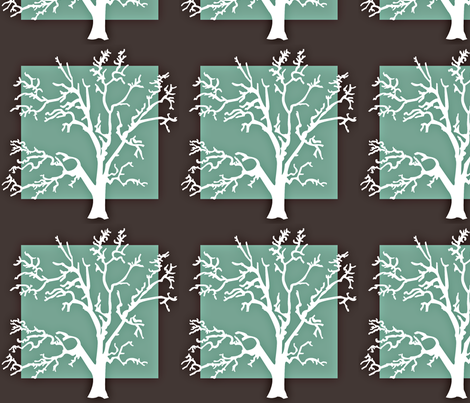 the white tree green fabric by amy_frances_designs on Spoonflower - custom fabric
