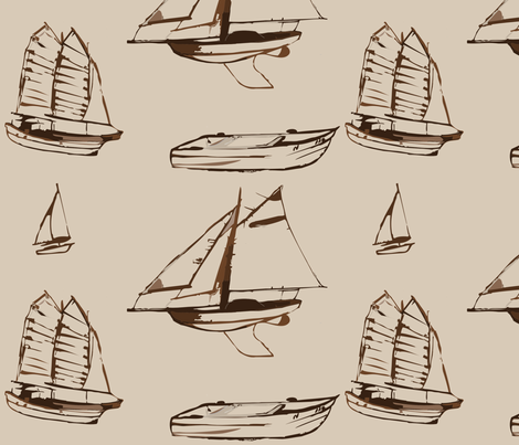 Boats in Brown fabric by jaysen on Spoonflower - custom fabric