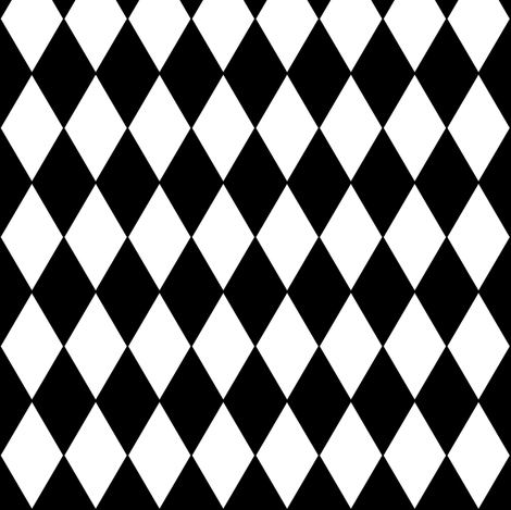 Harlequin Diamonds ~ Black & White ~ Small fabric by peacoquettedesigns on Spoonflower - custom fabric