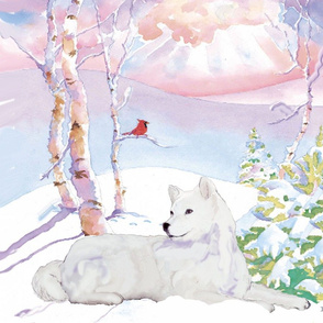 Samoyed  and  Cardinal Winter Scene