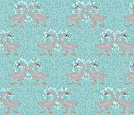 teal grey goose fabric by glimmericks on Spoonflower - custom fabric