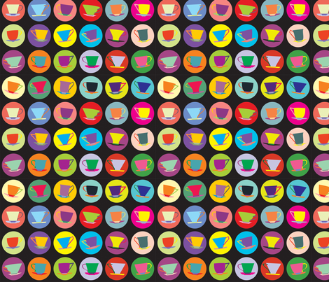 cup spots (black/multi) fabric by bippidiiboppidii on Spoonflower - custom fabric