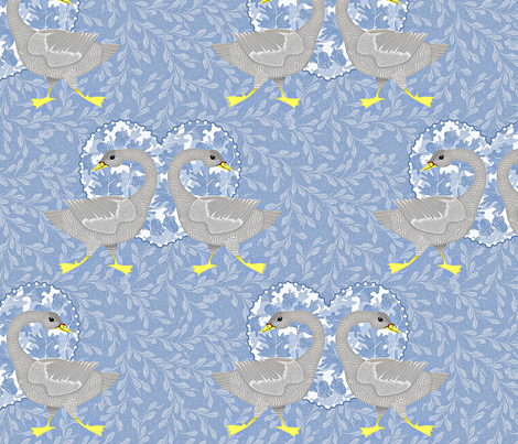 blue grey goose fabric by glimmericks on Spoonflower - custom fabric