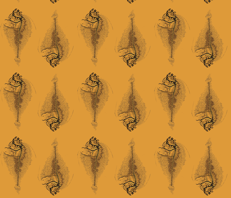 fishbone repeat, mustard fabric by nalo_hopkinson on Spoonflower - custom fabric