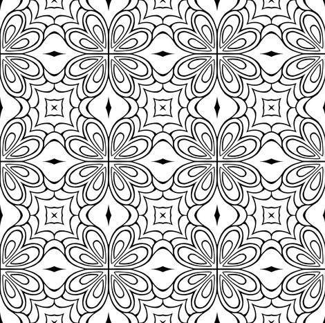 Insanis Flores part two (black and white version) fabric by samvanvoorst on Spoonflower - custom fabric