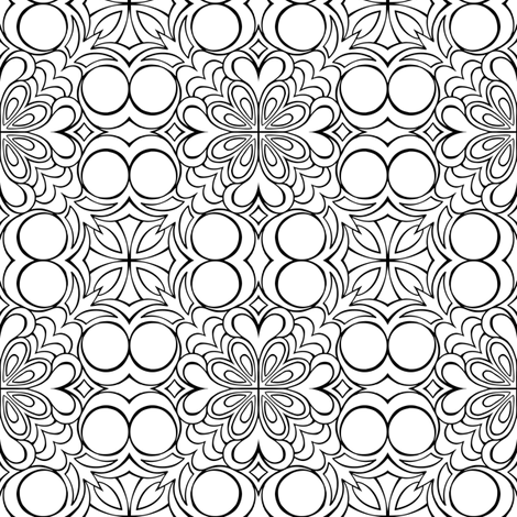 Insanis Flores part one (black and white version) fabric by samvanvoorst on Spoonflower - custom fabric