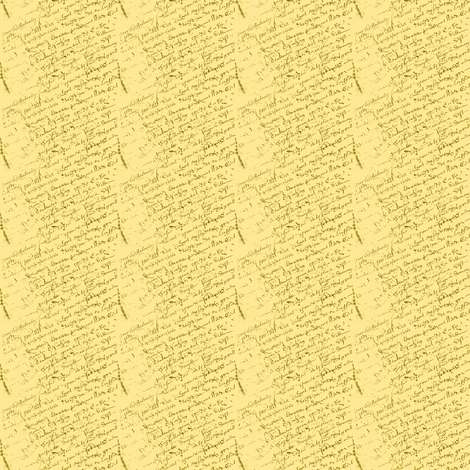 French Script Lemon Yellow Dollhouse fabric by karenharveycox on Spoonflower - custom fabric