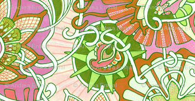 Lime/Orange/Raspberry Minuet Vertical Stripe