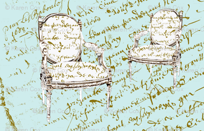 Two French Chairs on Paris blue French script dollhouse