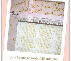 french script on White Dollhouse