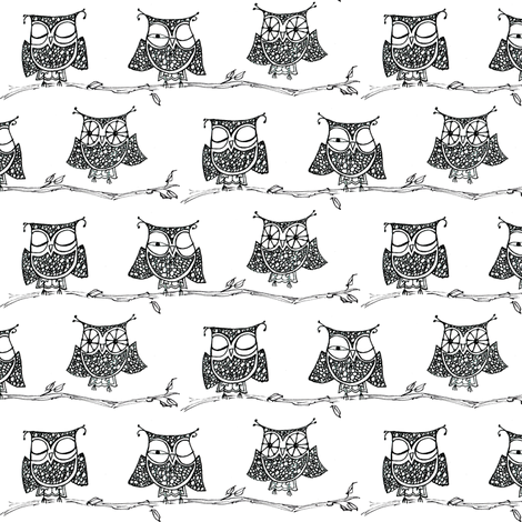 Wake-up Owls! fabric by cheeseandchutney on Spoonflower - custom fabric
