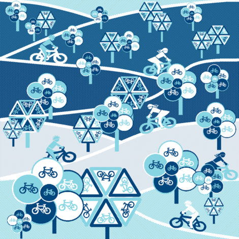 Bicycle blues fabric by elizabethjones on Spoonflower - custom fabric