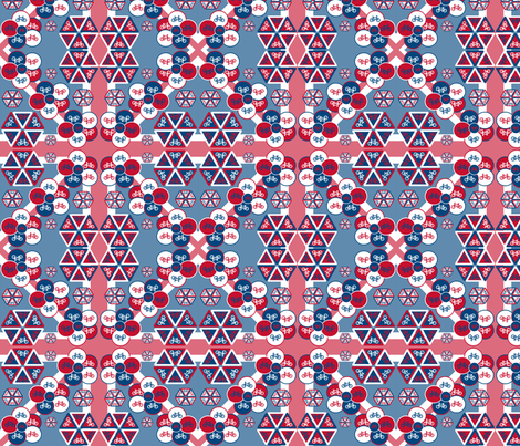 Bicycle flowers on Union Jack fabric by elizabethjones on Spoonflower - custom fabric
