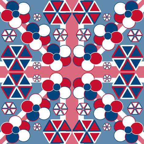 Flowers on a Union Jack fabric by elizabethjones on Spoonflower - custom fabric