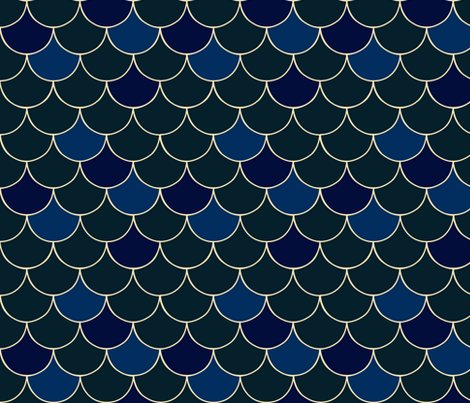 Blue Fish Scale fabric by nuuk on Spoonflower - custom fabric