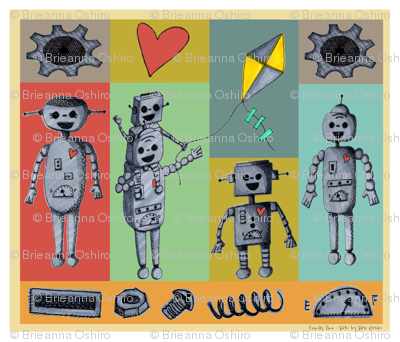 Family Time - Bots  Robot Cheater Quilt