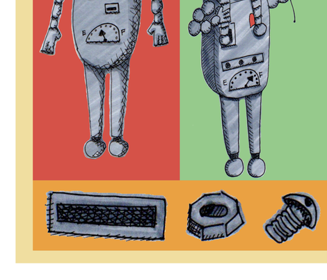 Family Time - Bots  Robot Cheater Quilt fabric by brieoshiro on Spoonflower - custom fabric