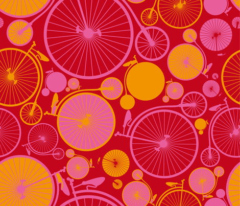 bicycle or grapefruit ? vélo ou pamplemousse ? fabric by cassiopee on Spoonflower - custom fabric