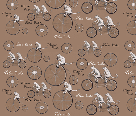 Meow-Purr-LetRide fabric by paintingbliss on Spoonflower - custom fabric