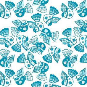 oiseaux serigraphie bleu
