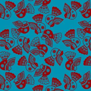 oiseaux serigraphie fond bleu