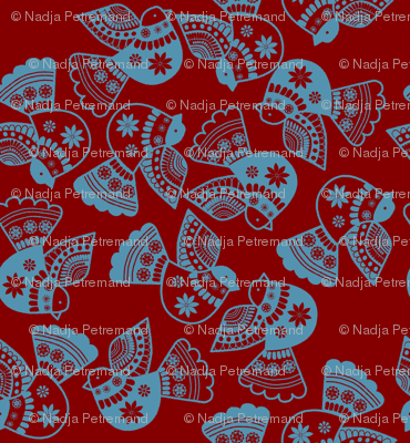 oiseaux serigraphie fond_rouge