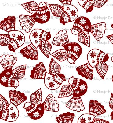 oiseaux serigraphie rouge