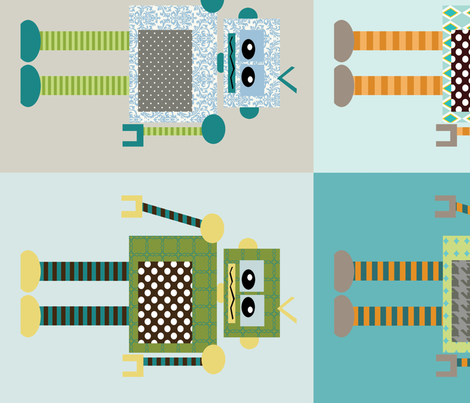 ROBOTS fabric by petunias on Spoonflower - custom fabric