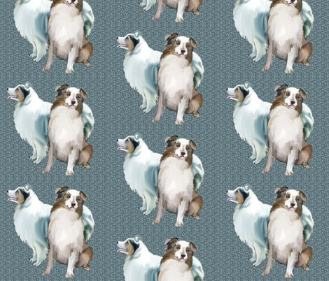 AUSSIES, two Australian Shepherds fabric by dogdaze_ on Spoonflower - custom fabric