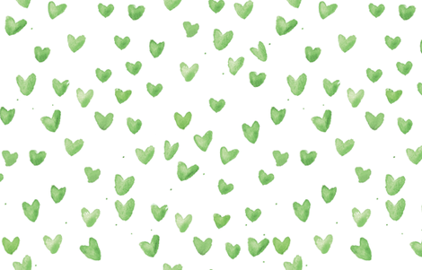Mint Watercolor Hearts by C'EST LA VIV fabric by cest_la_viv on Spoonflower - custom fabric